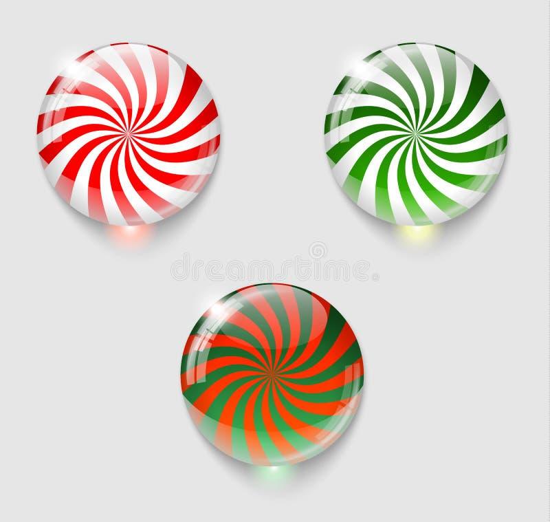 3 кнопки рождества лоснистых иллюстрация вектора