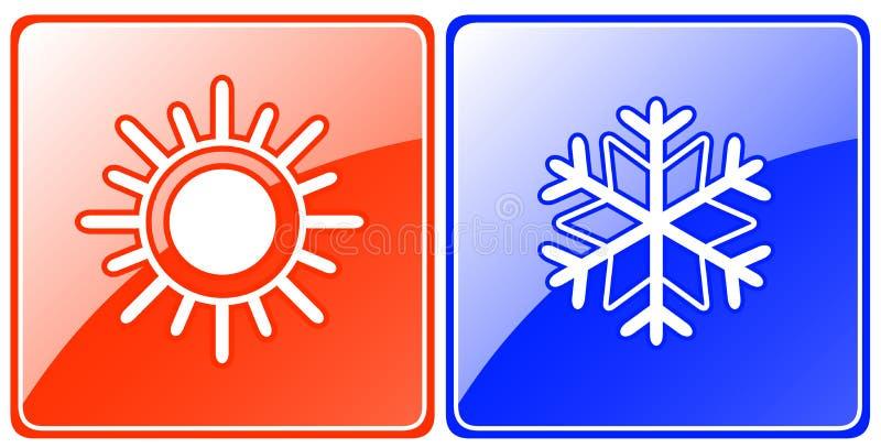 Кнопки сезона с снежинкой и солнцем бесплатная иллюстрация