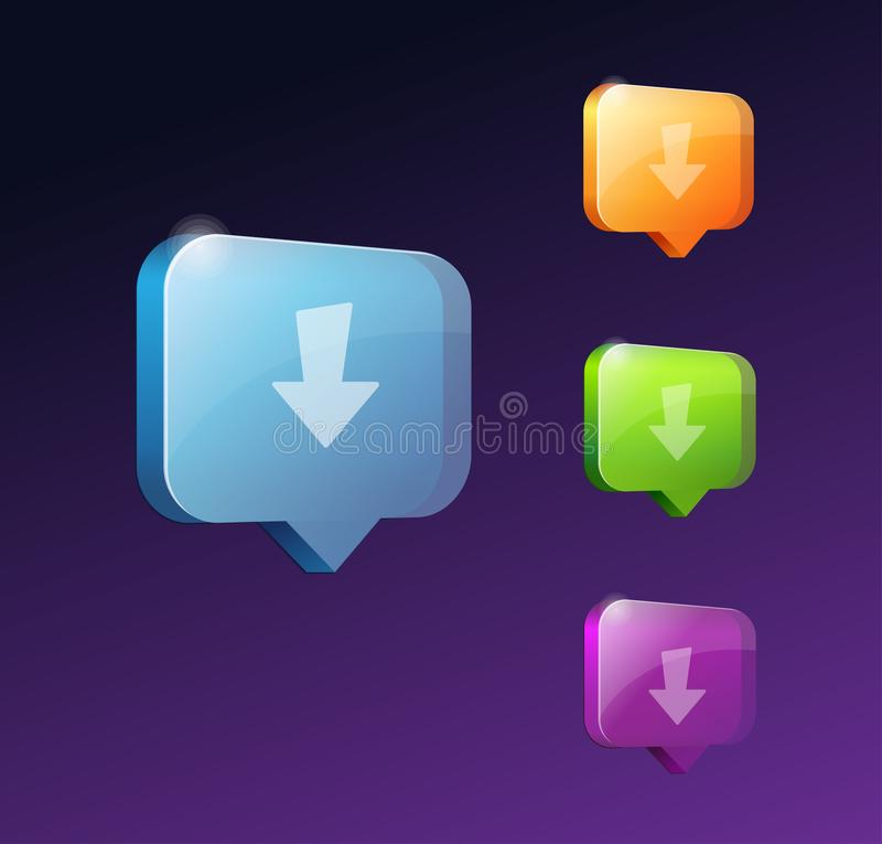Кнопки сети загрузки для вебсайта или app иллюстрация штока