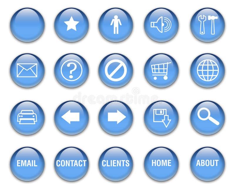 кнопки сини aqua иллюстрация штока