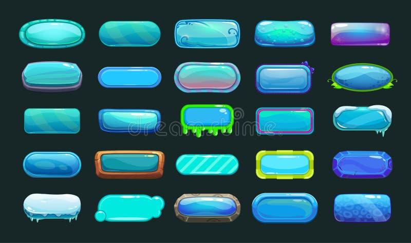 Кнопки смешного шаржа голубые длинные иллюстрация штока
