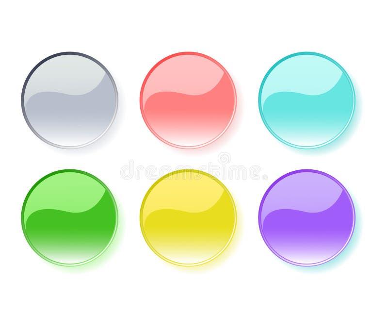кнопки установили глянцеватым иллюстрация вектора
