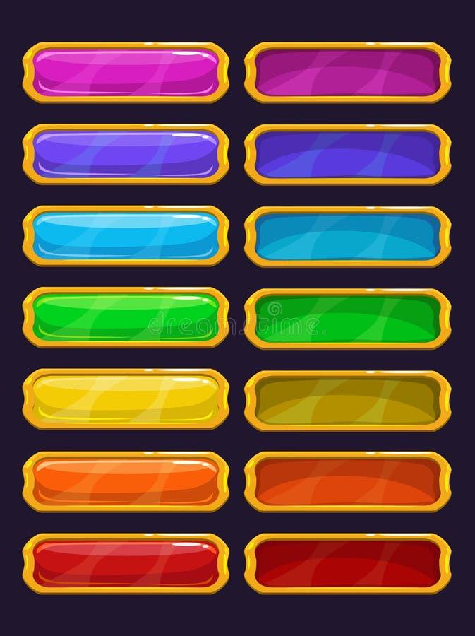 Кнопки шаржа красочные с золотой оправой бесплатная иллюстрация