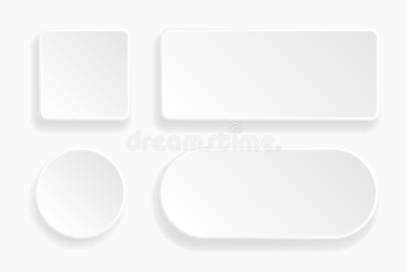 Кнопки 3d выбитые сетью Белые значки пробела 3d иллюстрация вектора