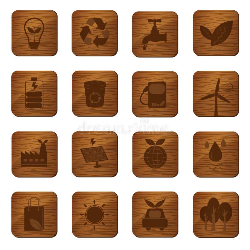 Кнопки Eco дружелюбные деревянные иллюстрация штока