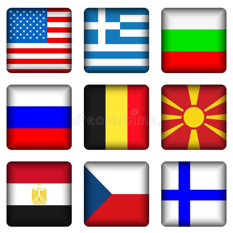 кнопки flag национальный квадрат иллюстрация штока