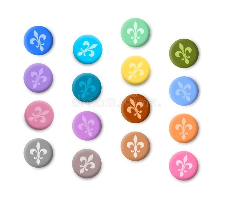 Кнопки Fleur de lis покрашенные иллюстрация вектора