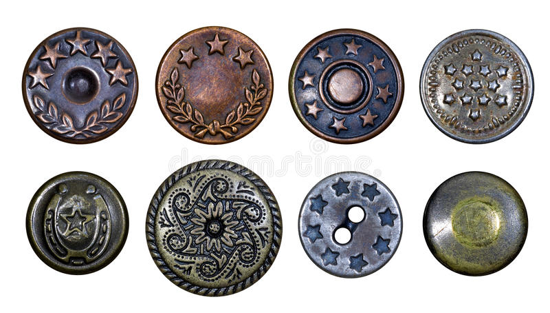 кнопки metal старые звезды стоковая фотография
