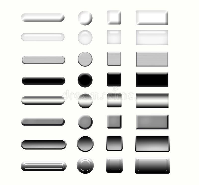 кнопки metal установленная сеть бесплатная иллюстрация