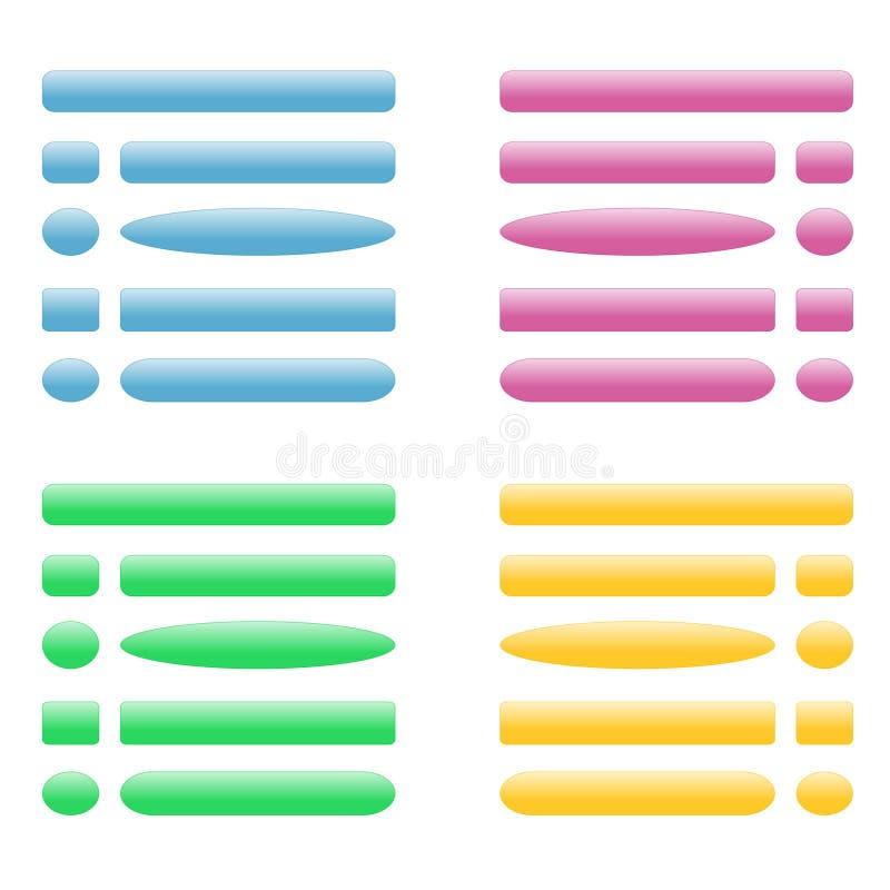 Кнопки vector для места Голубой, розовый, зеленый, желтый цвет иллюстрация вектора