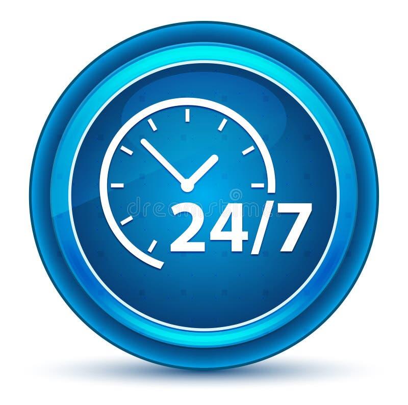 24/7 кнопок зрачка значка часов голубых круглых иллюстрация штока