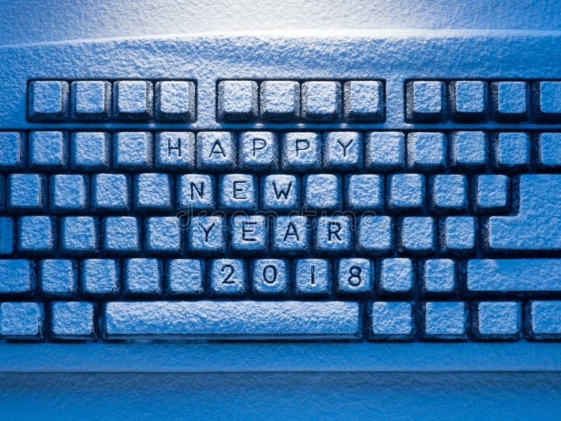 Кнопочная панель с Новым Годом 2018 надписи счастливым стоковые изображения