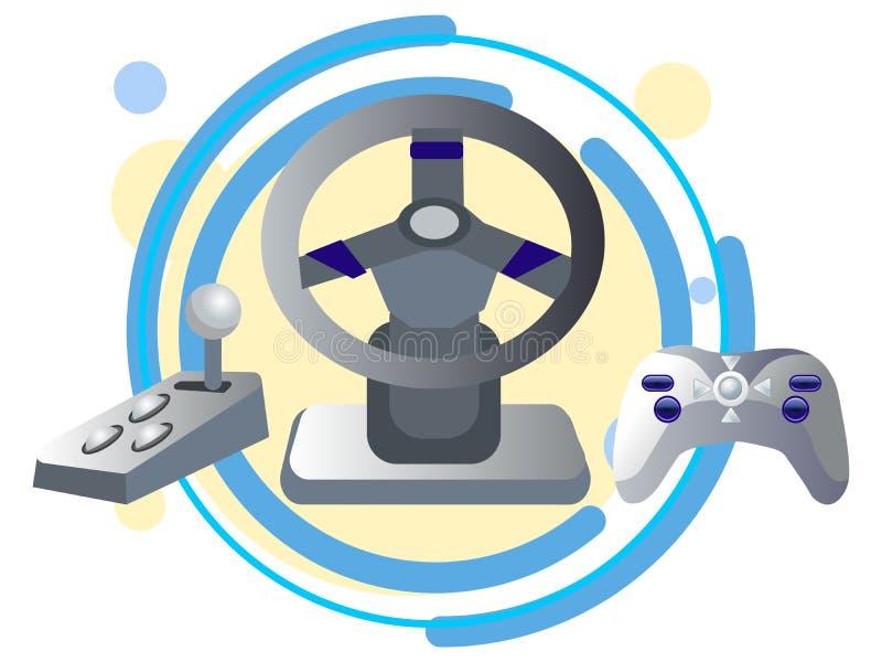 Кнюппель, руль и коробка передач компьютера В растре мультфильма минималистичного стиля плоском иллюстрация вектора