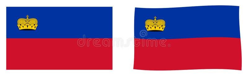 Княжество флага Лихтенштейна Простой и немножко развевающ v иллюстрация вектора