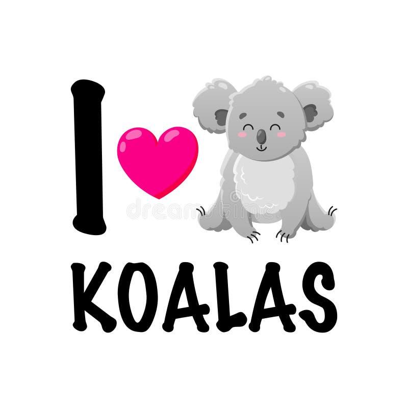 Коала мультфильма вектора с сердцем Иллюстрация Doodle Любовник коалы Смешное счастливое животное Шаблон для печати, карт иллюстрация вектора