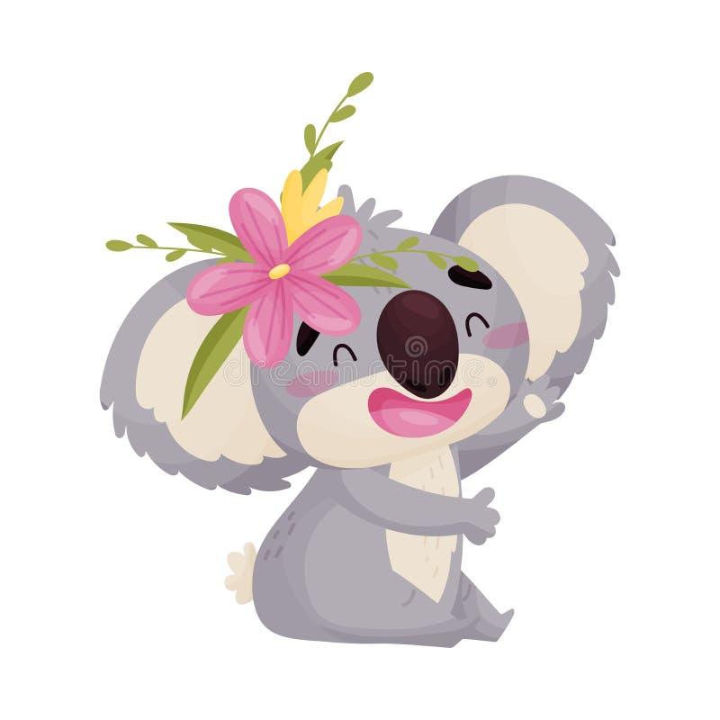 Коала humanized мультфильмом милая с цветком r бесплатная иллюстрация