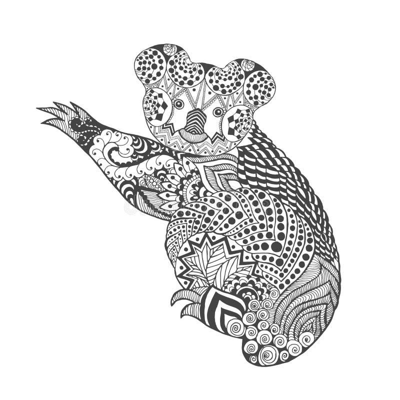 Коала Zentangle стилизованная иллюстрация вектора