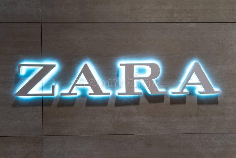 Кобленц Германия 15 12 Логотип 2018 магазина Zara в центре роскошных магазинов в сердце города стоковая фотография