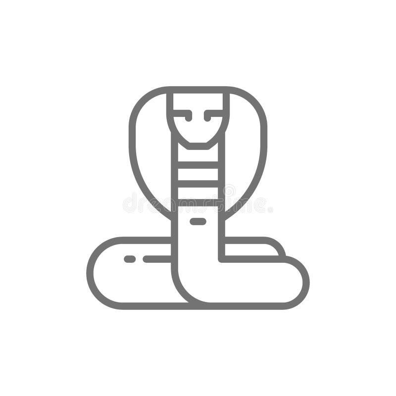 Кобра, линия значок змейки иллюстрация штока