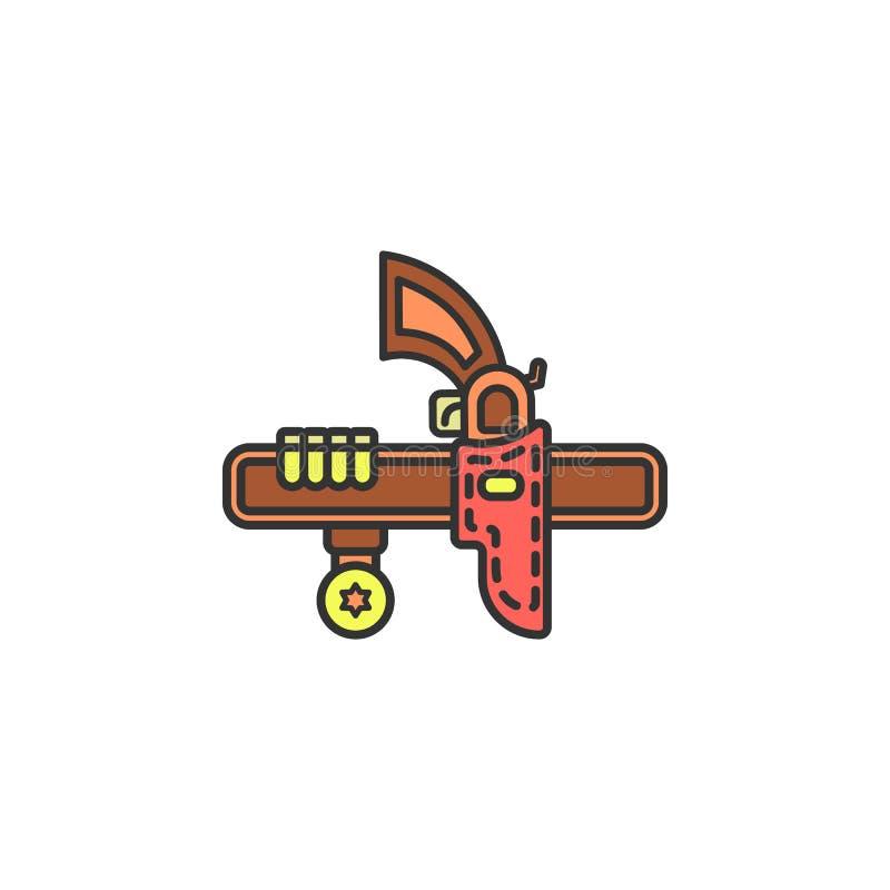 Кобура для значка покрашенного пистолетом Элемент значка Диких Западов для передвижных apps концепции и сети Кобура шаржа для иллюстрация штока