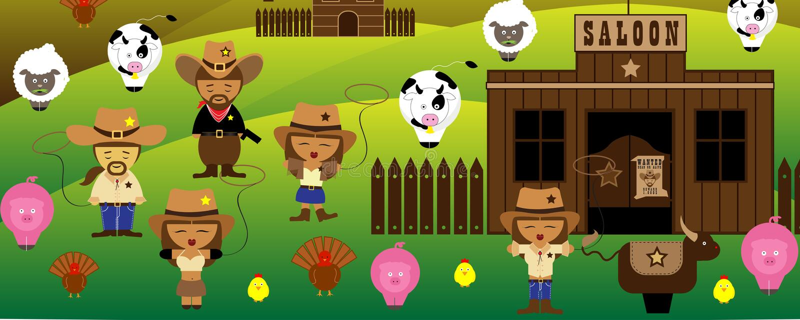 Ковбои времен Америки старые и салон и ферма бесплатная иллюстрация