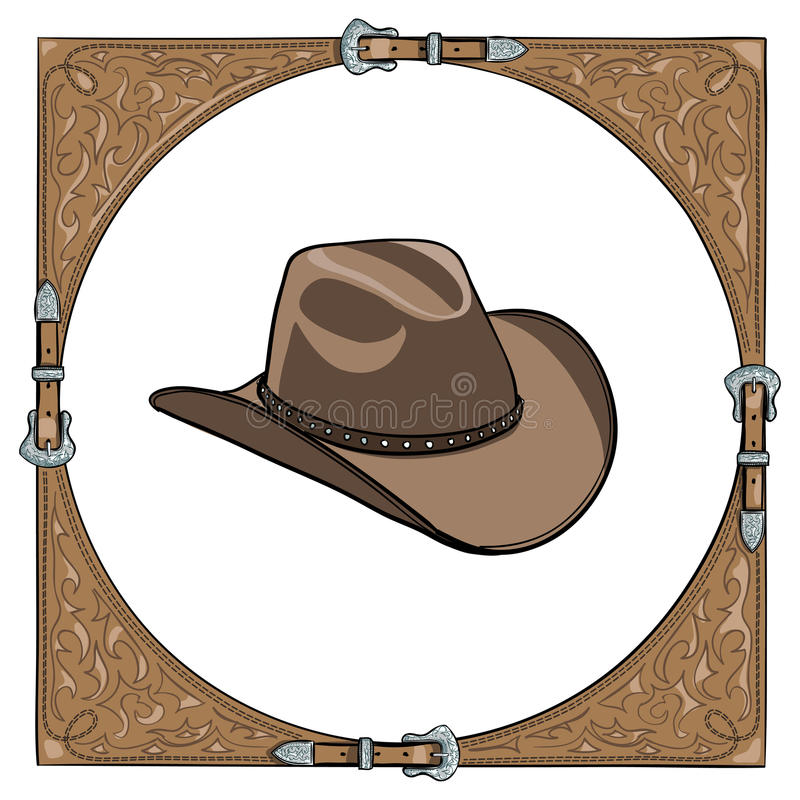 Ковбойская шляпа в западной кожаной рамке на белой предпосылке бесплатная иллюстрация