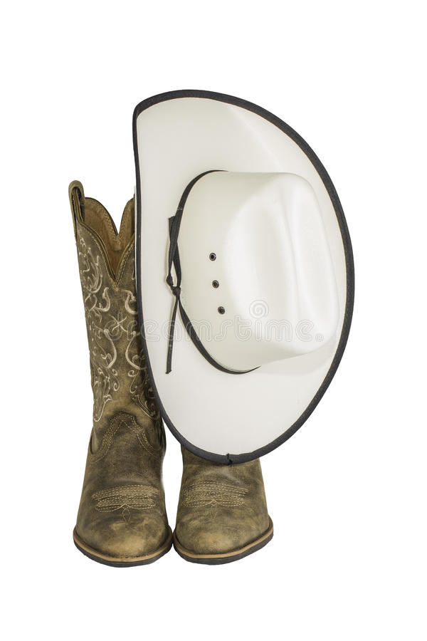 Ковбойская шляпа и западные ботинки стоковое изображение