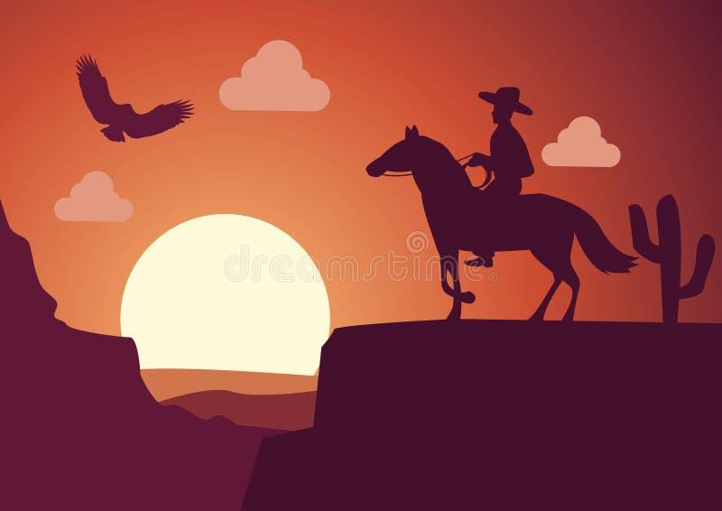 Ковбой в пустыне на времени захода солнца бесплатная иллюстрация