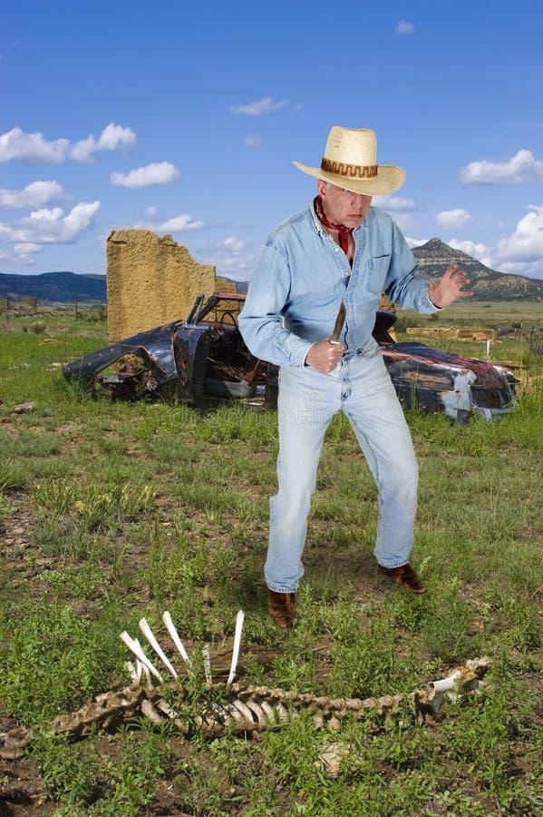 Ковбой западный, человек в западном имеющ драку ножа стоковая фотография rf
