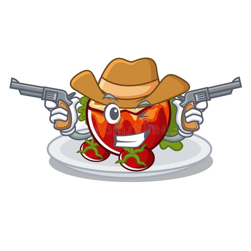 Ковбой заполнил томаты положенные на плиты характера иллюстрация вектора