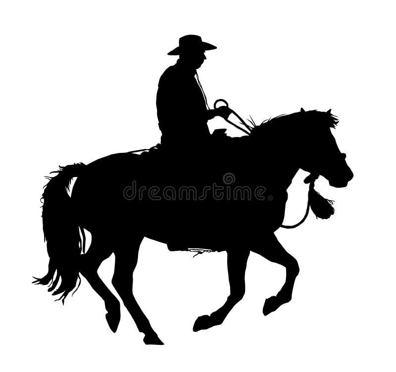 Ковбой и лошадь в галопе иллюстрация вектора
