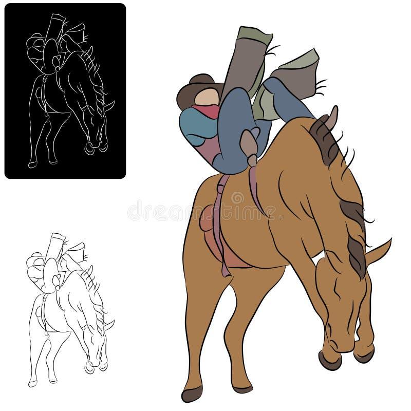 Ковбой и Bucking лошадь иллюстрация вектора