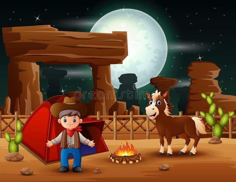 Ковбой мультфильма располагаясь лагерем с лошадью вечером иллюстрация вектора