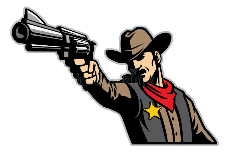Ковбой направляя оружие иллюстрация вектора