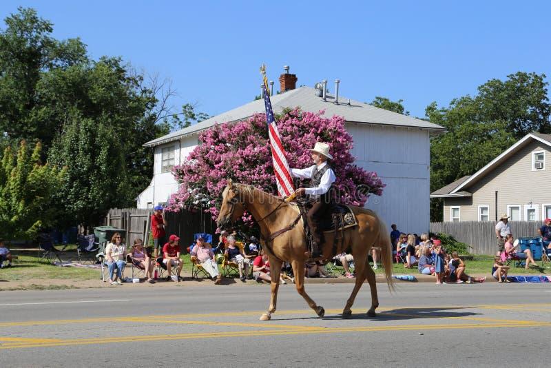 Ковбой на параде стоковое изображение