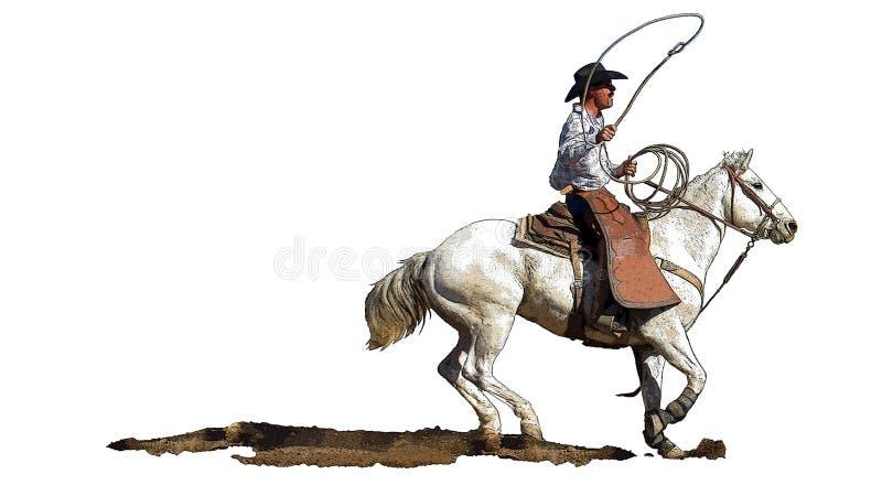 Ковбой родео на белой лошади иллюстрация вектора