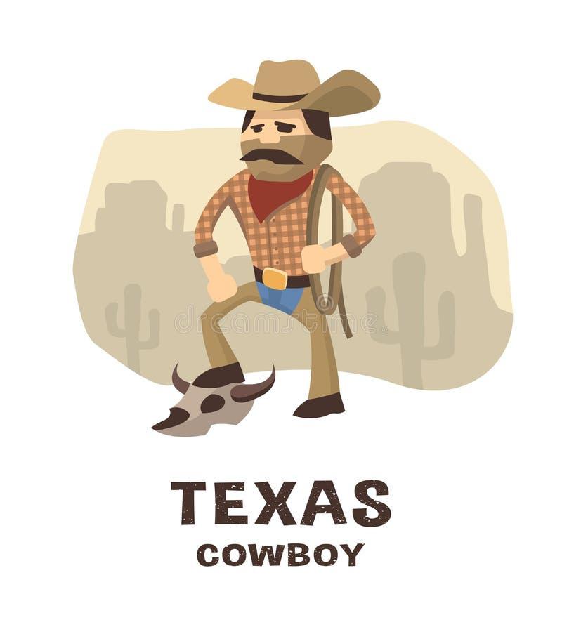 Ковбой Техаса в стиле нарисованном рукой иллюстрация штока