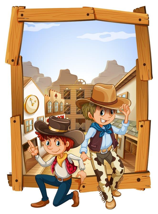 2 ковбоя в сельской местности бесплатная иллюстрация