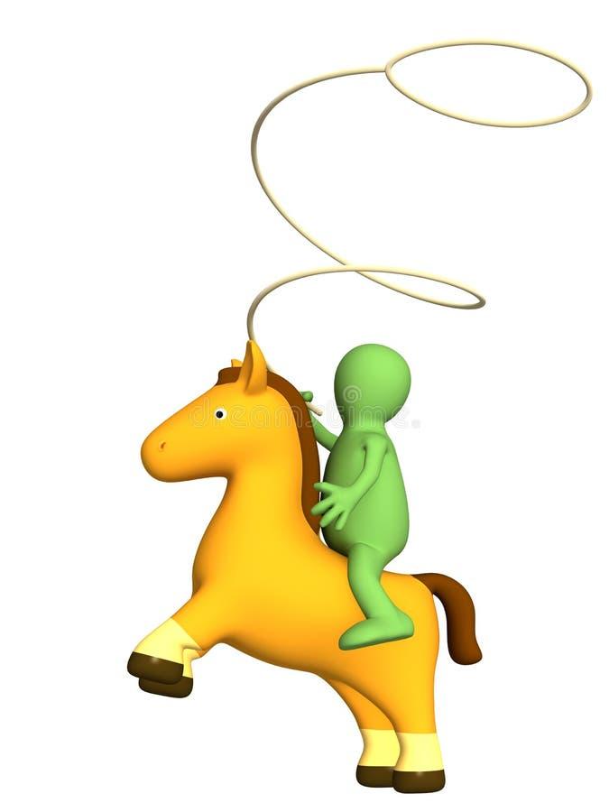 ковбоя 3d усаживание марионетки lasso horseback бесплатная иллюстрация