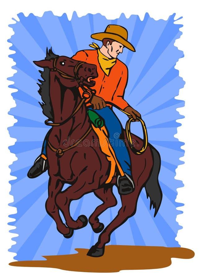 ковбоя lasso horseback иллюстрация вектора