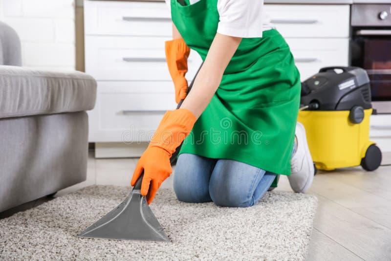 Ковер чистки женщины стоковое изображение