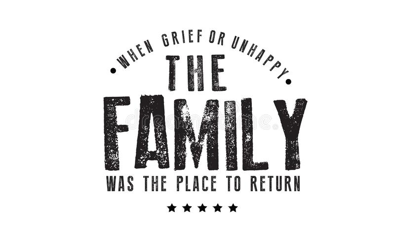 Когда печаль или несчастное семья было местом, который нужно возвратить иллюстрация штока