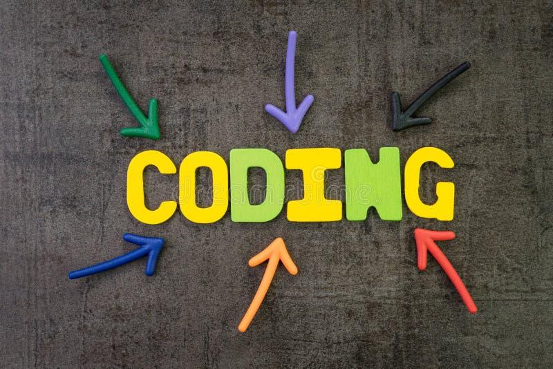 Кодирвоание для концепции разработки программного обеспечения или программирования, multi стрелок цвета указывая на кодирвоание с стоковая фотография rf