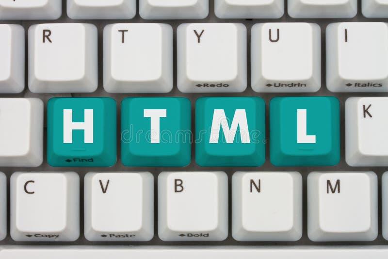 Кодирвоание компьютера с HTML на клавиатуре стоковое фото