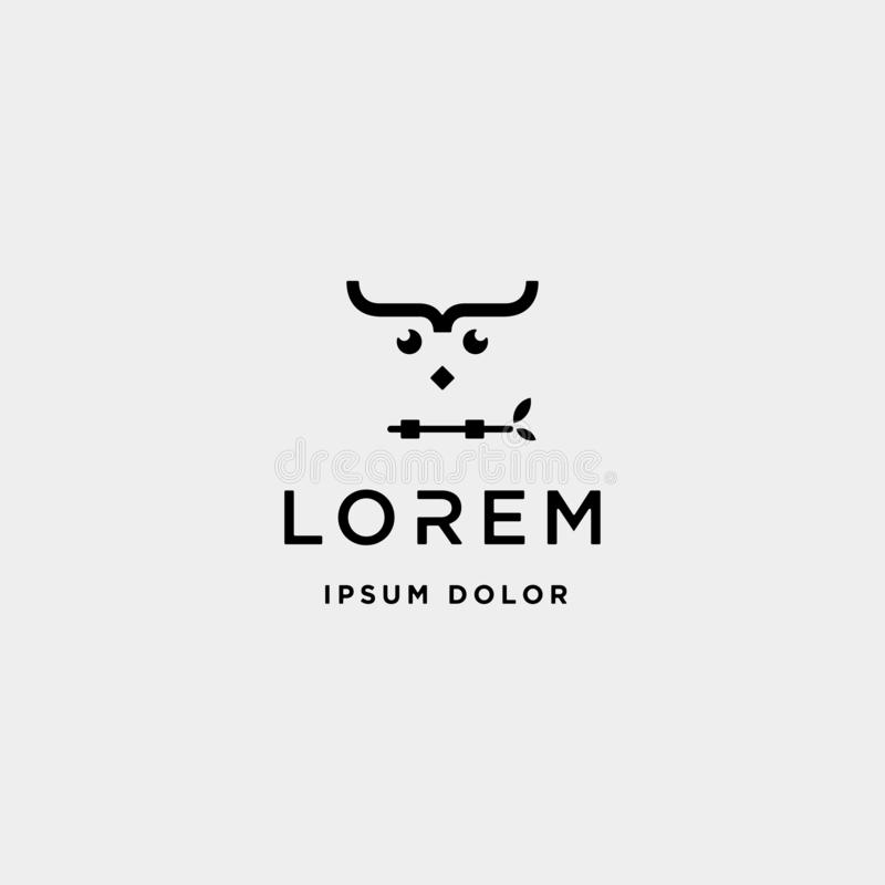 кодировать символ кодера птицы вектора дизайна логотипа сыча иллюстрация вектора