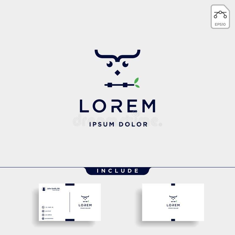 кодировать символ кодера птицы вектора дизайна логотипа сыча иллюстрация штока