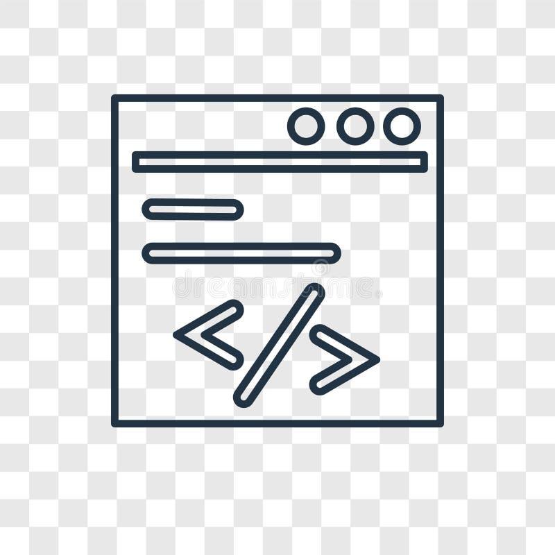 Кодирующ изолированный значок вектора концепции линейный на прозрачном backgr иллюстрация штока