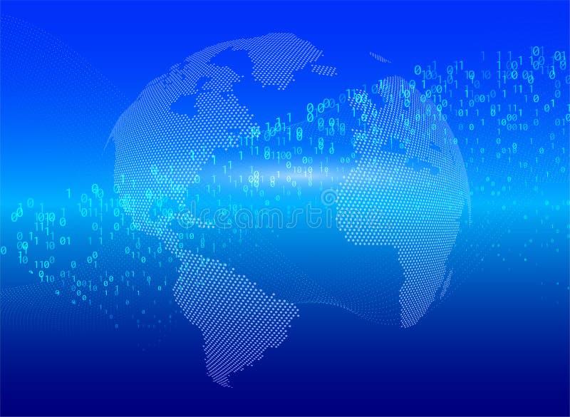 Код глобального обмена данными земли планеты бинарный Концепция дела кибер атаки персональной информации оплаты безопасностью гол иллюстрация вектора