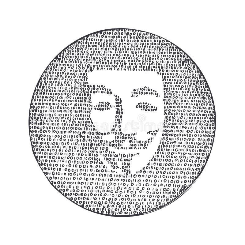 Код силуэта анонимный бинарный также вектор иллюстрации притяжки corel иллюстрация штока