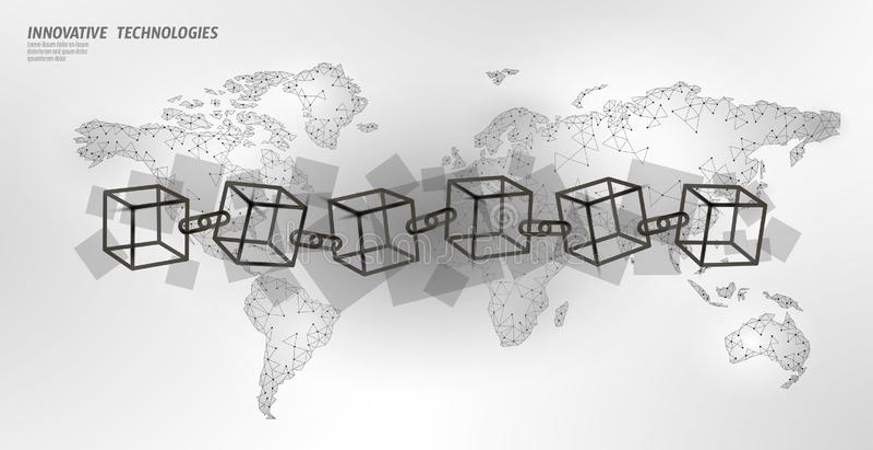 Код символа цепи куба Blockchain квадратный Подача больших данных международная Белая карта земли планеты Финансы Cryptocurrency бесплатная иллюстрация